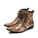 Χαμηλού Κόστους Αντρικά Πέδιλα-Ανδρικά Μπότες Μάχης PU Χειμώνας Μπότες Μπότες στη Μέση της Γάμπας Κίτρινο