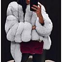 Χαμηλού Κόστους Μάσκες-Γυναικεία Καθημερινά Φθινόπωρο & Χειμώνας Κανονικό Faux Fur Coat, Μονόχρωμο Λαιμόκοψη V Μακρυμάνικο Ψεύτικη Γούνα Μαύρο / Ανοιχτό Γκρι / Λευκό