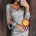 Χαμηλού Κόστους Γυναικείες Γόβες-Γυναικεία Glitters Σέξι Σχιστά Μανίκια Λεπτό Εφαρμοστό Φόρεμα - Συμπαγές Χρώμα, Πούλιες Βαθύ V Πάνω από το Γόνατο Λαιμόκοψη V / Πάρτι
