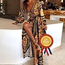 baratos Vestidos de Noite-Mulheres Boêmio Inspiração Vintage balanço Vestido - Patchwork Enrole, Abstrato Decote em V Profundo Longo / Festa