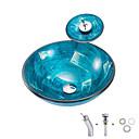 billiga Fristående tvättställ-Badrums sink / Badrumskran / Badrums Monteringssing Nutida - Härdat Glas Rund Vessel Sink
