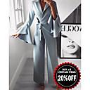 baratos Bolsas Tote-Mulheres Básico Azul Claro Perna larga Macacão, Sólido M L XL