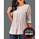 baratos Massageadores de Corpo-Mulheres Blusa De Renda Geométrica Cinzento / Primavera / Outono