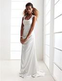 billiga Brudklänningar-Åtsmitande Scoop Neck Svepsläp Charmeuse / Spets med pärlor Remmar Öppen Rygg Bröllopsklänningar tillverkade med Applikationsbroderi 2020 / Kyrka