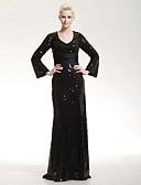 Χαμηλού Κόστους Βραδινά Φορέματα-Ίσια Γραμμή Scoop Neck Μακρύ Με πούλιες Φανταχτερό / Κομψό Επίσημο Βραδινό / Μαύρο γκαλά Φόρεμα 2020 με Πούλιες / Ζώνη / Κορδέλα