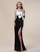 ราคาถูก ชุดแม่เจ้าสาว-ชีท / คอลัมน์ ไร้สาย ลากพื้น เลื่อม สะท้อนแสง ทางการ แต่งตัว กับ ของประดับด้วยลูกปัด / เลื่อม / ผ่าหน้า โดย TS Couture®