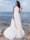 billiga Brudklänningar-A-linje Prydd med juveler Svepsläp Chiffong Regelbundna band Liten vit klänning Bröllopsklänningar tillverkade med Draperad / Veckad 2020 / Strand / destination