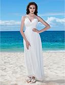 billiga Brudklänningar-A-linje V-hals Golvlång Chiffong Regelbundna band Liten vit klänning Bröllopsklänningar tillverkade med Bård / Veckad / Knapp 2020