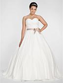 Χαμηλού Κόστους Νυφικά-Βραδινή τουαλέτα Καρδιά Μακριά ουρά Σιφόν Στράπλες Open Back Φορέματα γάμου φτιαγμένα στο μέτρο με Φιόγκος / Ζώνη / Κορδέλα / Πιασίματα 2020