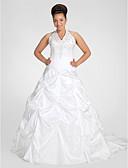 Χαμηλού Κόστους Νυφικά-Βραδινή τουαλέτα Λαιμόκοψη V Μακριά ουρά Ταφτάς Κανονικοί ιμάντες Φορέματα γάμου φτιαγμένα στο μέτρο με Χάντρες / Κέντημα / Φούστα με πιασίματα 2020