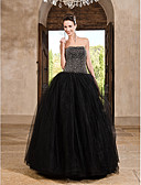 ราคาถูก Special Occasion Dresses-บอลกาวน์ ไร้สาย ลากพื้น ซาติน / Tulle สไตล์วินเทจ ทางการ แต่งตัว กับ ของประดับด้วยลูกปัด / คริสตัล โดย TS Couture®