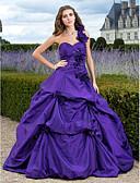 ราคาถูก Special Occasion Dresses-บอลกาวน์ ไหล่เดียว ชายกระโปรงคอร์ท Taffeta แต่งตัว กับ เข็มกลัด / กระโปรง Pick Up โดย TS Couture®