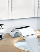 povoljno The Freshest One-Piece-Slavina za kadu - Suvremena Chrome Rimska kupelj Keramičke ventila Bath Shower Mixer Taps / Nehrđajući čelik / Dvije ručke tri rupe