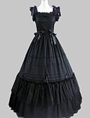 ราคาถูก ชุดโลลิต้า-เจ้าหญิง Gothic Lolita ชุดราตรี หนึ่งชิ้น ชุดเดรส สำหรับผู้หญิง เด็กผู้หญิง ซาติน ฝ้าย ญี่ปุ่น เครื่องแต่งกายคอสเพลย์ สีดำ Vintage Cap ความยาว