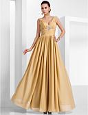 זול שמלות מקסי-גזרת A צווארון V עד הריצפה שיפון ערב רישמי שמלה עם סיכה מקריסטל / אסוף על ידי TS Couture®