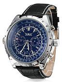ราคาถูก นาฬิกาสวมใส่เข้าชุด-สำหรับผู้ชาย นาฬิกาตกแต่งข้อมือ วิศวกรรมนาฬิกา สายการบิน ไขลานอัตโนมัติ หนัง ดำ ปฏิทิน ระบบอนาล็อก ความหรูหรา - ขาว สีดำ ฟ้า