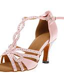 povoljno Haljine za majku mlade-Žene Plesne cipele Saten Cipele za latino plesove / Cipele za salsu Kopča Štikle Potpetica po mjeri Moguće personalizirati Pink / Koža / EU40