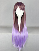 billige Blomsterpikekjoler-Flotte Fairy Zipper Brown og lilla Mixed Color 80cm Princess Lolita Wig