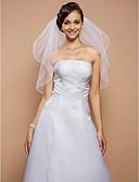 Χαμηλού Κόστους Πέπλα Γάμου-Δύο-βαθμίδων Μύτη Μολυβιού Πέπλα Γάμου Πέπλα ως τον αγκώνα με Πέρλες 31,5 ίντσες (80εκ) Τούλι Γραμμή Α, Τουαλέτα, Πριγκίπισσα, Ίσια Γραμμή, Τρομπέτα / Γοργόνα / Κλασσικό