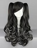 povoljno Stare svjetske nošnje-Cosplay Wigs Žene 28 inch Otporna na toplinu vlakna Crn Anime / Punk Lolita