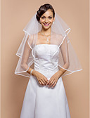 ราคาถูก ม่านสำหรับงานแต่งงาน-Two-tier ขอบโบว์ ผ้าคลุมหน้าชุดแต่งงาน Elbow Veils กับ หินประกาย 31.5 นิ้ว (80ซม.) Tulle A-line, Ball Gown, Princess, Sheath / Column, Trumpet / Mermaid / คลาสสิก