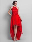 baratos Vestidos de Casamento-Tubinho Nadador Assimétrico Chiffon / Renda Frente Única / Assimétrico / Elegante Coquetel / Evento Formal Vestido 2020 com Apliques