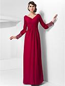 baratos Vestidos de Noite-Tubinho Decote V Longo Chiffon Elegante Evento Formal / Baile Militar Vestido 2020 com Miçangas / Botões / Pregueado