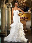 baratos Vestidos de Casamento-Sereia Decote Princesa Cauda Escova Organza / Tule Alças Recortes Vestidos de casamento feitos à medida com Broche de Cristal em forma de Flor 2020 / Igreja / Duas Peças