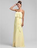 ราคาถูก Special Occasion Dresses-ชีท / คอลัมน์ ไร้สาย ลากพื้น ชิฟฟอน เพื่อนเจ้าสาวชุด กับ ระบาย Cascading / จับย่น โดย LAN TING BRIDE®