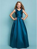 Χαμηλού Κόστους Φορέματα για παρανυφάκια-Γραμμή Α / Πριγκίπισσα Λαιμόκοψη V Μακρύ Σατέν Φόρεμα Νεαρών Παρανύμφων με Ζώνη / Κορδέλα / Χιαστί / Άνοιξη / Καλοκαίρι / Φθινόπωρο / Μήλο / Κλεψύδρα