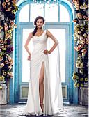 billiga Brudklänningar-Åtsmitande Enaxlad Svepsläp Chiffong Regelbundna band Bröllopsklänningar tillverkade med Bård / Spetsinlägg 2020
