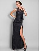 Χαμηλού Κόστους Βραδινά Φορέματα-Ίσια Γραμμή Ένας Ώμος Μακρύ Δαντέλα Ανοικτή Πλάτη Χοροεσπερίδα / Επίσημο Βραδινό / Στρατιωτικός Χορός Φόρεμα 2020 με Με Άνοιγμα Μπροστά / Λουλούδι