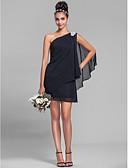 ราคาถูก ชุดสำหรับงานเลี้ยง-ชีท / คอลัมน์ ไหล่เดียว สั้น / มินิ ชิฟฟอน เพื่อนเจ้าสาวชุด กับ คริสตัล / จีบข้าง โดย LAN TING BRIDE®