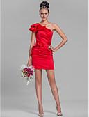 Χαμηλού Κόστους Φορέματα Παρανύμφων-Ίσια Γραμμή Ένας Ώμος Κοντό / Μίνι Σατέν Φόρεμα Παρανύμφων με Ζώνη / Κορδέλα / Βολάν