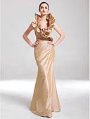 Χαμηλού Κόστους Βραδινά Φορέματα-Τρομπέτα / Γοργόνα Λαιμόκοψη V Μακρύ Ταφτάς Κομψό & Μοντέρνο / Κομψό Επίσημο Βραδινό / Μαύρο γκαλά Φόρεμα 2020 με Πλαϊνό ντραπέ / Βολάν