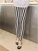 ราคาถูก เลกกิ้ง-สำหรับผู้หญิง ฝ้าย สปอร์ตตี้ ที่ปกคลุมขา - ลายแถบ ข้อมือระดับกลาง สีดำ / สีขาว ขนาดเดียว / สกินนี่