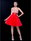 Χαμηλού Κόστους Φορέματα κοκτέιλ-Βραδινή τουαλέτα Scoop Neck Κοντό / Μίνι Τούλι Φανταχτερό / χαριτωμένο στυλ Κοκτέιλ Πάρτι / Χοροεσπερίδα Φόρεμα 2020 με Χάντρες / Πιασίματα