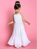 Χαμηλού Κόστους Λουλουδάτα φορέματα για κορίτσια-Γραμμή Α Μακρύ Φόρεμα για Κοριτσάκι Λουλουδιών - Σιφόν / Ελαστικό Σατέν Αμάνικο Με Κόσμημα με Ζώνη / Κορδέλα / Πλαϊνό ντραπέ / Πρώτη Κοινωνία