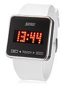 Χαμηλού Κόστους Ανδρικά μπλουζάκια και φανελάκια-SKMEI Ανδρικά Ρολόι Καρπού Ψηφιακό ρολόι Square Watch Ψηφιακή σιλικόνη Μαύρο / Λευκή Οθόνη Αφής Ημερολόγιο LED Ψηφιακό κυρίες Φυλαχτό - Λευκό Μαύρο Δύο χρόνια Διάρκεια Ζωής Μπαταρίας