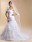 ราคาถูก ม่านสำหรับงานแต่งงาน-ชั้นเดียว งานผ้าขอบลายลูกไม้ ผ้าคลุมหน้าชุดแต่งงาน ผ้าคลุมหน้าในโบสถ์ กับ 118.11นิ้ว (300ซม.) ลูกไม้ / Tulle ชุดแต่งงานทรง Sheath / Column / ชุดแต่งงานทรง Trumpet / Mermaid