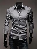 baratos Camisas Masculinas-Homens Tamanhos Grandes Camisa Social Casual Sólido Colarinho Clássico Delgado Branco / Manga Longa / Primavera / Outono