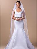 ราคาถูก ม่านสำหรับงานแต่งงาน-Two-tier ผ้าคลุมหน้าชุดแต่งงาน ผ้าคลุมหน้าในโบสถ์ กับ 98.43นิ้ว (250ซม.) Tulle A-line, Ball Gown, Princess, Sheath / Column, Trumpet / Mermaid