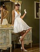 billiga Brudklänningar-A-linje V-hals Kort / mini Stretchig satäng Regelbundna band Vacker i svart Bröllopsklänningar tillverkade med Draperad 2020