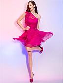Χαμηλού Κόστους Φορέματα κοκτέιλ-Γραμμή Α Ένας Ώμος Κοντό / Μίνι Σιφόν Λουλουδάτο / Ανοικτή Πλάτη / χαριτωμένο στυλ Κοκτέιλ Πάρτι / Καλωσόρισμα Φόρεμα 2020 με Κρυστάλλινη λεπτομέρεια / Βολάν