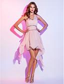 Χαμηλού Κόστους Φορέματα κοκτέιλ-Γραμμή Α Δένει στο Λαιμό Ασύμμετρο Σιφόν Κοντό Μπροστά Μακρύ Πίσω / Χρώματα Pastel Κοκτέιλ Πάρτι / Καλωσόρισμα Φόρεμα 2020 με Χάντρες / Πιασίματα