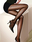 ราคาถูก ถุงเท้าและชุดชั้นใน-สำหรับผู้หญิง Sexy ถุงน่อง - ลายพิมพ์ บาง สีดำ ขนาดเดียว