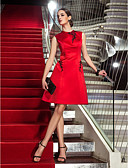 baratos Vestidos de Coquetel-Linha A Decorado com Bijuteria Até os Joelhos Cetim Elegante Coquetel / Reunião de Classe Vestido 2020 com Miçangas / Apliques
