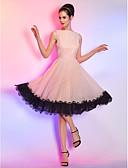 billige Aftenkjoler-A-linje Båthals Knelang Chiffon / Snøringsblonder søt stil / Pastellfarger Cocktailfest / Ball Kjole 2020 med Blondeinnlegg