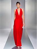 Χαμηλού Κόστους Βραδινά Φορέματα-Ίσια Γραμμή Βυθίζοντας το λαιμό Μακρύ Ζέρσεϊ Ανοικτή Πλάτη Χοροεσπερίδα / Επίσημο Βραδινό Φόρεμα 2020 με Πλαϊνό ντραπέ / Χιαστί