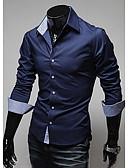baratos Camisas Masculinas-Homens Camisa Social Sólido Azul Escuro / Manga Longa